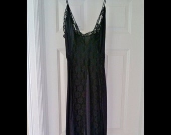 Vintage long black lace nightgown