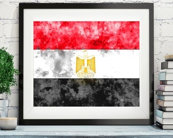 Egypt Flag Art, Egypt Flag Print, Flag Poster, Country Flags, Watercolor Painting, Watercolor Flag, Poster, Wall Art, Egyptian, Gift Idea