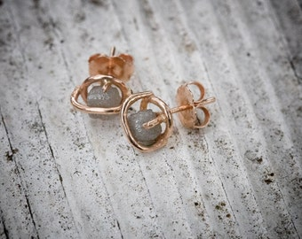 rustic cage diamond earring studs
