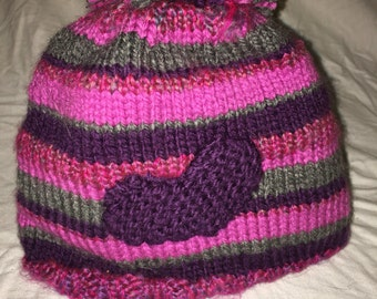 Hand knit striped heart hat--perfect for winter!
