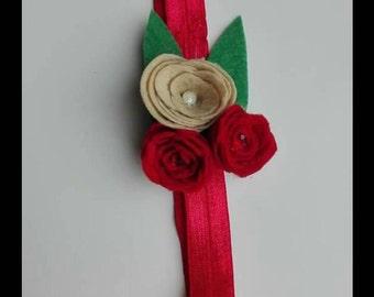 Felt flower red an cream headband