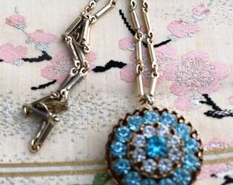 SALE:  Coro Pegasus 1950's Blue Rhineston Necklace