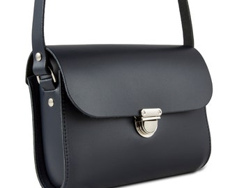 Navy Small Leather Crossbody/Shoulder Bag, Made in London