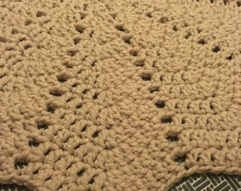 Beige Floral-style Crocheted Rug