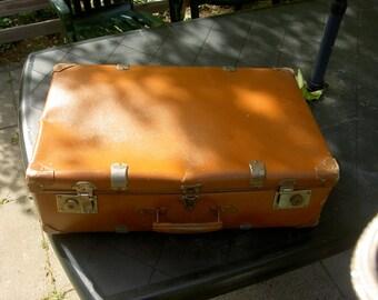 Suitcase old vintage Brown