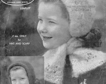 PDF 1950's Knitting Pattern by Robin.  271 (6-10 yrs).  Hats and Scarves in Mohair.