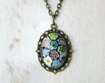 Chain bronze, Murano Millefiori pendants, Millefiori cabochon necklace