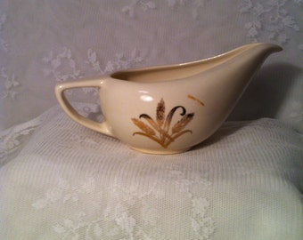 Vintage Creamer with Golden Wheat Pattern