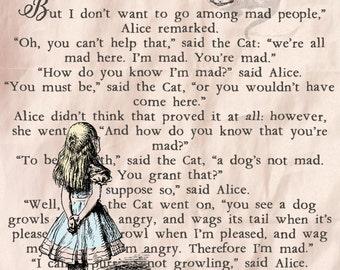 Alice In Wonderland birthday card, Alice in Wonderland greetings card, Alice In Wonderland blank card, Card for her,