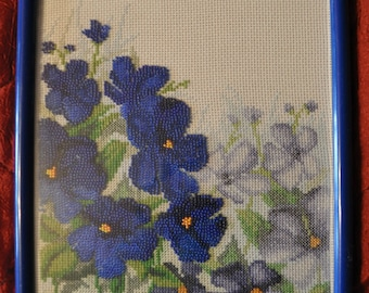 Blue flowers,handmade picture, fancywork,home decoration,gift , Cross stitch, beads,framed