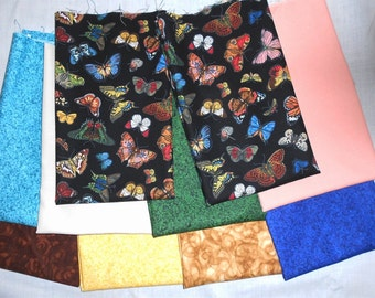 Butterflies/Small Butterfly Fabric Fat Quarter Bundle 10pc. -green/blue/royal/ivory/chocolate/tan/peach/yellow tones (#O30)