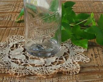 Vintage Blown Glass Citrate Magnesia Bottle, Hand Dug Bottle, Medicine Bottle, Antique Clear Glass Advertising Bottle with Porcelain Cap