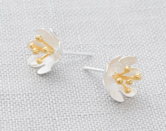 Handmade, Brushed Sterling Silver 925 and 18k Gold Plate Flower Stud Earrings