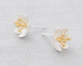 Handmade, Brushed Sterling Silver 925 and 18k Gold Plate Flower Stud Earrings