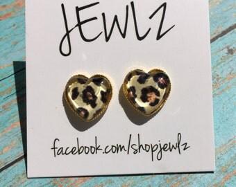 Leopard or Zebra Heart Shaped Earrings in Gold Or Silver