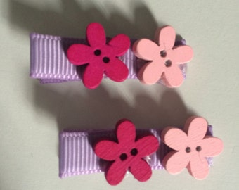 Pink and Purple Flower Hair Slides -  Set of Two