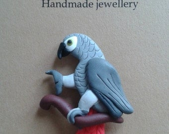 Parrot fridge magnet African grey parrot closed wings handmade fimo - polymer clay - 5 cm large