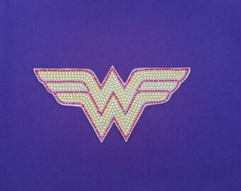 """Wonder Woman Bling Rhinestone Car Decal 8"""" x 3 1/2"""""""
