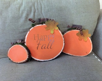 Pumpkin Wood Slices - Happy Fall