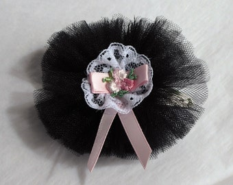 Black Ruffle Rosette hair slide