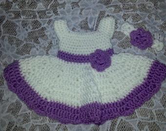White and Purple Princess Rose Dress w/Matching Headband (Free Shipping in the U.S!)