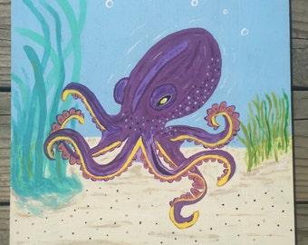 "Octopus Painting, ""Purple Reign"""
