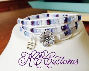 Purple and white wrap