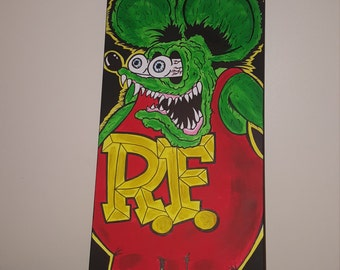 Rat fink hand painted on canvas