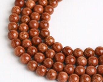 Gold Sand Stone Beads, Round Gemstone Beads, Natural Stone Beads - SP003