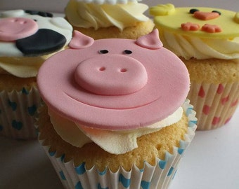 12 x Farm animal cupcake toppers