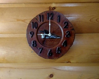 "Loon Wood Slice Clock - Oak - 10""Ø"