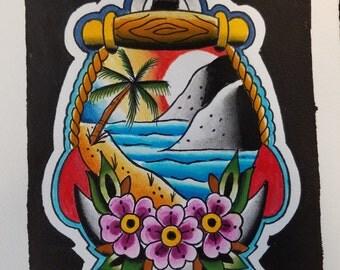 Traditional Anchor Beach Print