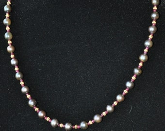Classic Ruby and Peacock Fresh Water Pearl Necklace