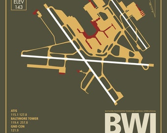 BWI Baltimore-Washington International Airport Maryland Travel Infographic Art Print on Paper Variety Colors and Styles Home Office Decor