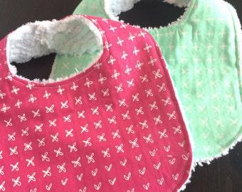 Baby Bibs, Chenille Baby Bibs, Set of 2, Hot Pink, Mint