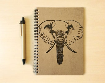 Elephant Kraft Notebook/Sketchbook Spiral Bound - Blank pages