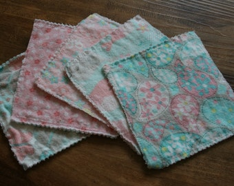 Eco Friendly Reusable Baby Wipes* Set of 5* Ready to ship hand sewn washable baby wipes. Perfect for cloth diapering