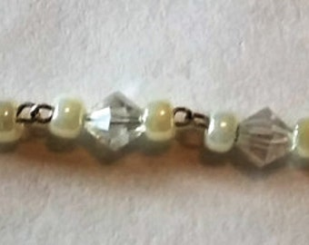 Clear Bicone and Pearl Bracelet