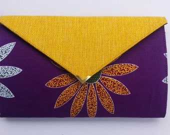 Purple and Yellow Flower Clutch