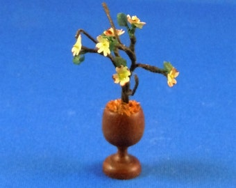 Dollhouse Miniature Flowers in twelfth scale or 1:12 scale. Apple Blossoms in wood goblet.  Item #D121.