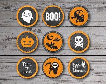 Printable Halloween tags or cupcake toppers; instant download; set of 9; 2 inch circles