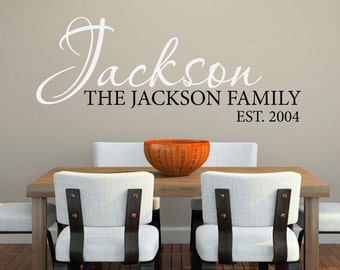 Family name monogram and year established custom personalized name vinyl wall decal