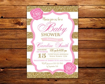 Baby Shower Invitations. Pink and Gold Baby Shower Invitations. Pink and Gold Glitter. Baby Girl ShowerInvitation. Floral. Pink & Gold Baby.