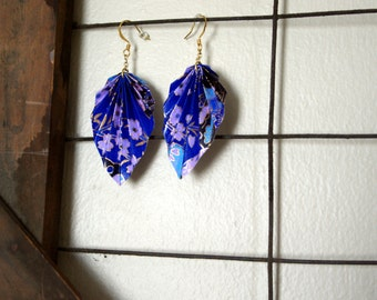 Large Blue and Purple Origami Leaf Earrings