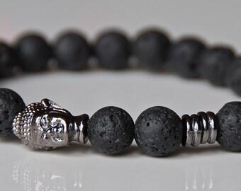 Men Buddha Bracelet, Rock Lava Mala Wrist, Grounding Meditation, Yoga Healing Bracelet, Reiki Zen Boho Mala Bracelet, Stackable bracelet