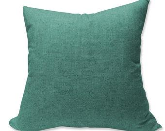 Kravet Bright Mottled Teal Linen Pillow Cover