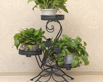 Dazone® 3 TIER Black Wrought Iron Floor-Standing Pot Plant Stand Balcony Study Planter