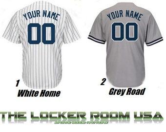 Men's MLB Custom Replica New York Yankees Home or Road Jersey