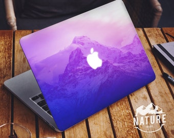 Abstract macbook decal mountain macbook air skin nature macbook pro sticker snow and sky purple and blue theme macbook cover - NIM005