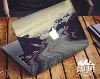 Macbook air sticker cover Black and white decal for macbook retina macbook peel and stick decal Winter Snow Wild Laptop decal  - NI032